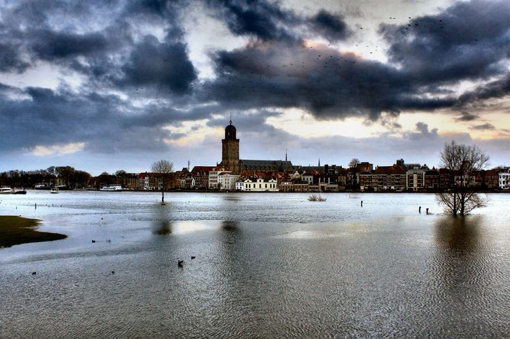 Deventer , the Netherlands. High water at the river the IJssel. (by: harry eppink)