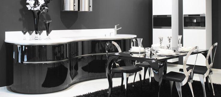 Luxusní kuchyně Hanák model Verona a Elite, černý lak | Hanák kuchyně - kuchyně a interiéry na míru.