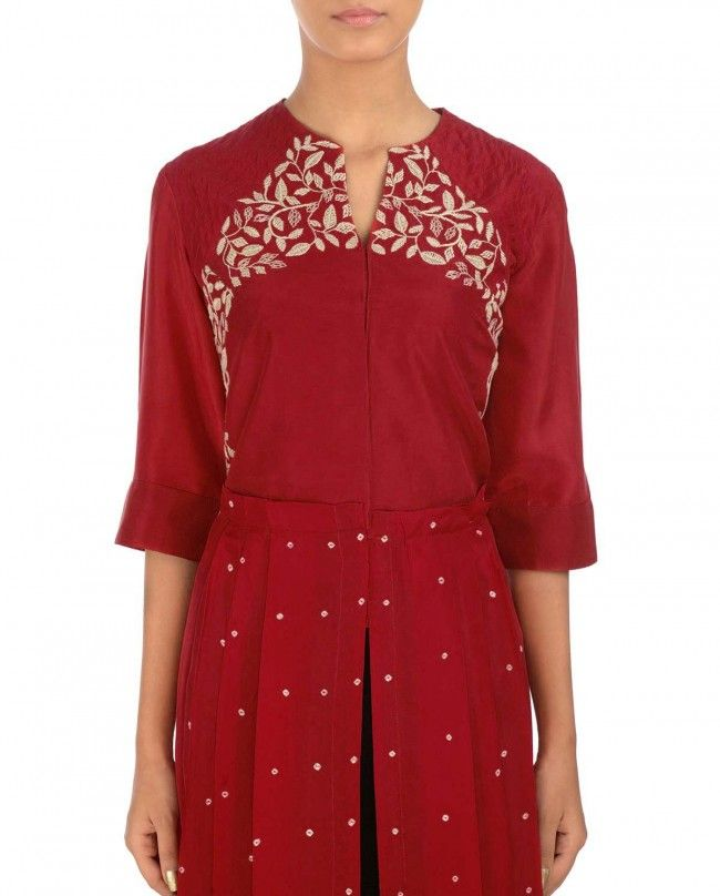 Scarlet Pleated Dress with Embroidered Bodice - MYOHO by Kiran and Meghna* - Designers