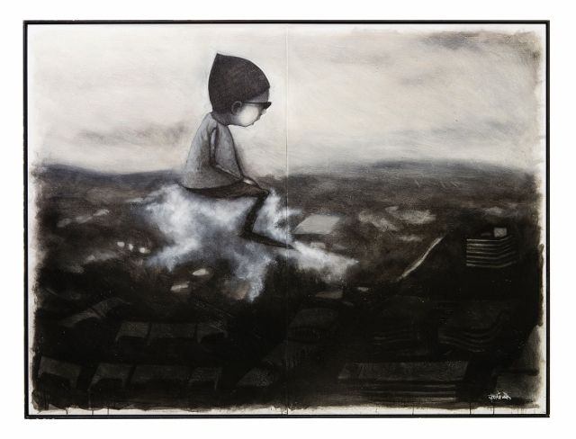 'Geoffrey's journey', acrylic, dirt spray paint, graffiti remover and oil on canvas. 2014, by Stormie Mills