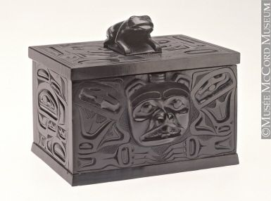 Chest - Thomas Moody Northwest Coast Aboriginal: Haida 1900-1925, 20th century Argillite 8.7 x 10.2 x 15.1 cm Purchased by the McCord Museum M5922  