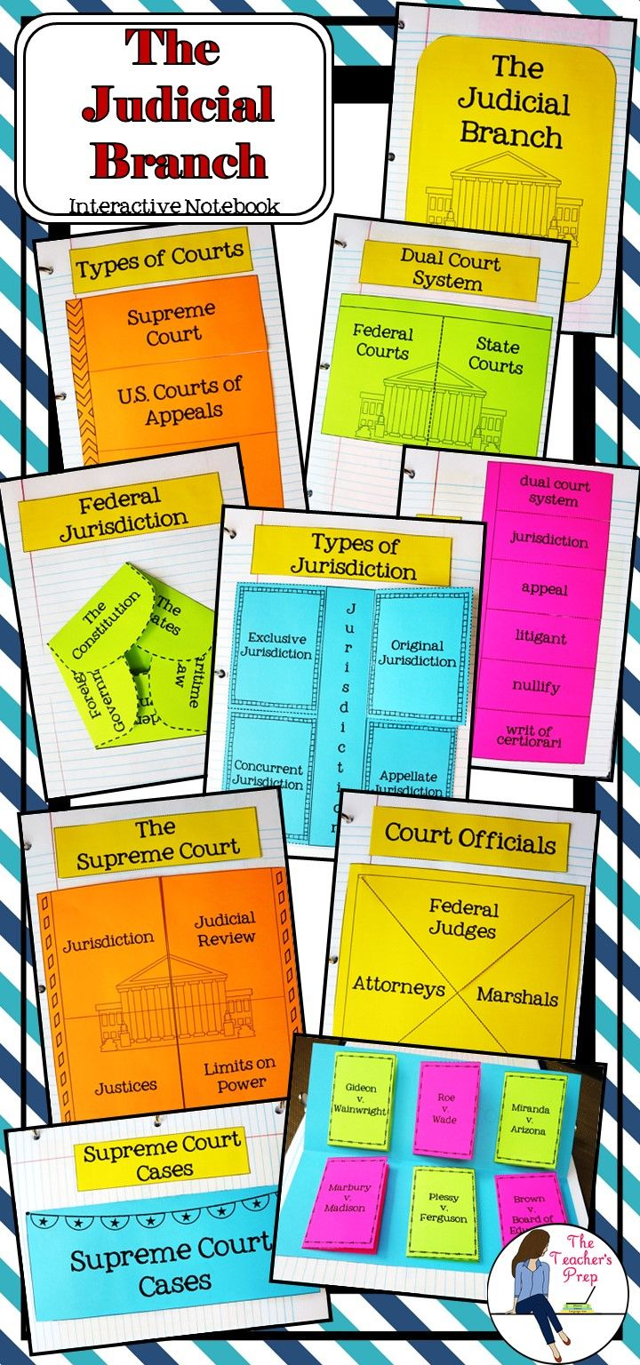 The Judicial Branch Interactive Notebook includes 8 different interactive activities to help students organize information and an answer key to use as a guide for each graphic organizer!
