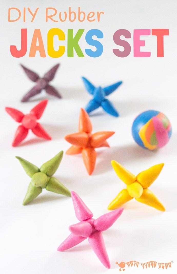 Make a DIY rubber JACKS GAME with this easy and colourful Sugru craft.