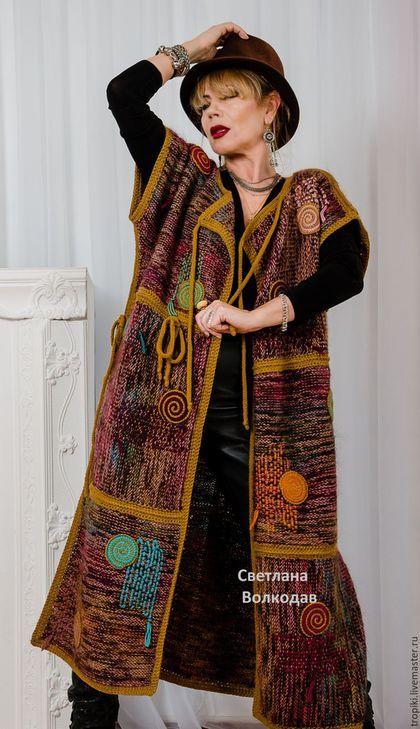 """Верхняя одежда ручной работы. Ярмарка Мастеров - ручная работа. Купить """"Палитра"""" вязаное пальто-жилет двустороннее авторское. Handmade."""