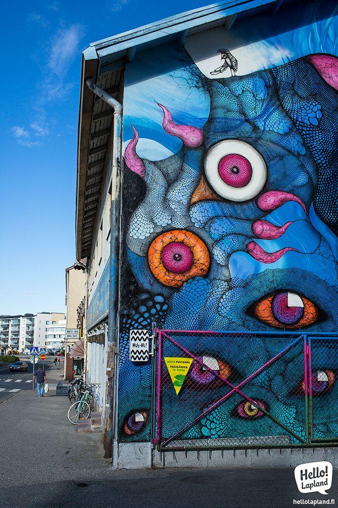 Amazing art wall in Rovaniemi Lapland Finland.