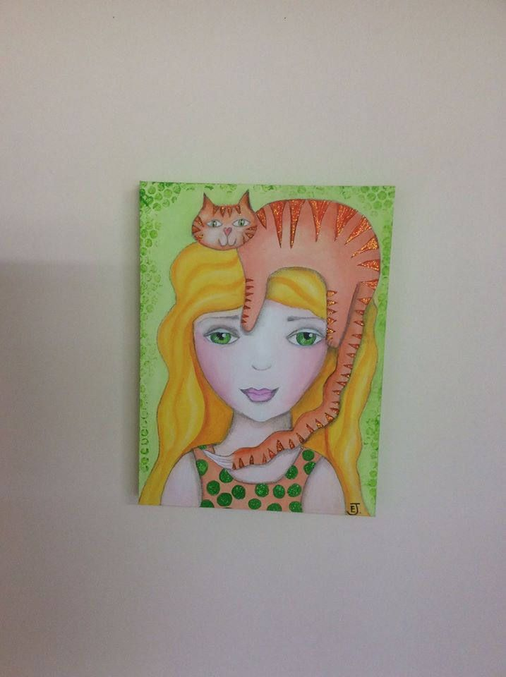 Children's art, girl with cat, pretty girl with golden hair and orange cat sitting on her head, OOAK whimsical art, suit child or teen. by HomeofWhimsy on Etsy