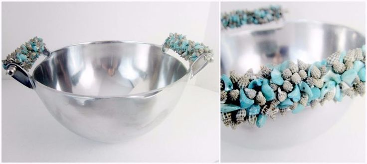 If you need some serving pieces for your beach home, this Salad Bowl has gorgeous turquoise & Natural seashell handles. Nautical and a great summer hostess gift!