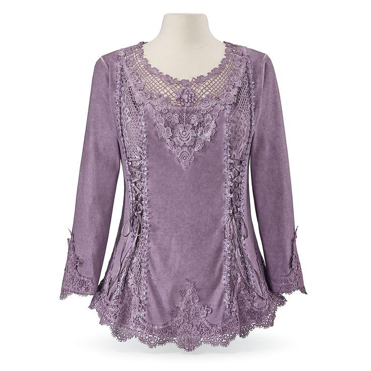 Purple Ribbon & Lace Top - Women's Romantic & Fantasy Inspired Fashions