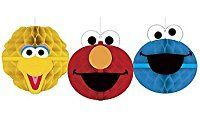 Sesame Street Honeycomb Decorations 3 count Elmo, Big Bird, and Cookie Monster Birthday Party Supplies