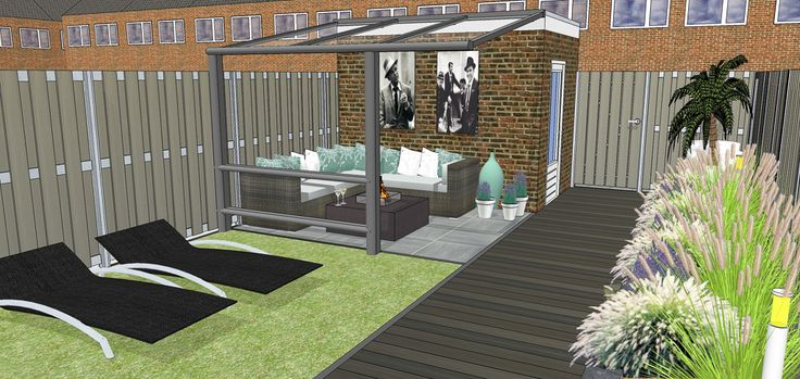 Garden design small urban lounge garden. Used materials ceramic outdoor tiles, wood-polymer composite decking and fences and an aluminium porch. #urbangarden #urbangardendesign