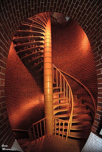 Beautiful spiral staircase in the Barnegat Lighthouse, New Jersey. Barnegat Lighthouse, colloquially known as 'Old Barney', is a historic lighthouse located in Barnegat Lighthouse State Park on the northern tip of Long Beach Island, New Jersey. (V)