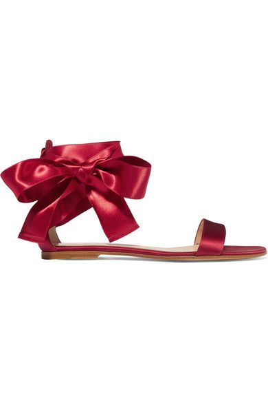 Gianvito Rossi - Lace-up Satin Sandals - Burgundy - IT40