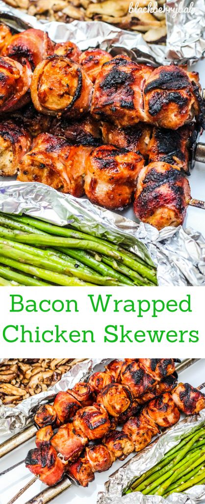 Bacon Wrapped Chicken Skewers with Maple Sriracha Glaze