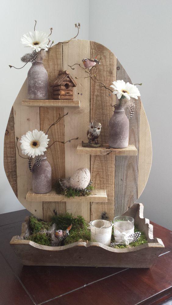 25 beste idee n over lente decoraties op pinterest for Houten decoratie voor raam
