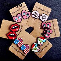 Comiya designer de moda acrílico colorido dos desenhos animados coração lip dentes brincos alfabeto decoração do partido encantador bonito brinco