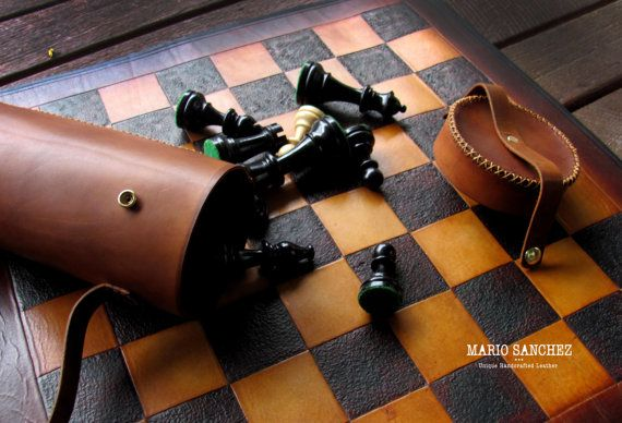 Easy Carry Portable Leather Chess Set by SanchezLeather on Etsy
