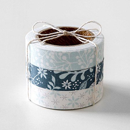 3 Set - Frosty Blue Frostwork Ice Flower Adhesive Fabric Tapes (0.6in)