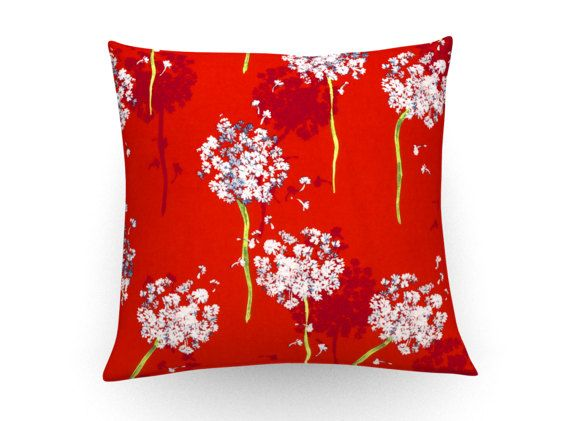 Floral print cushion cover, decorative pillow, floral cushion, floral pillow, red throw pillow, home decor, red cushion, red throw cushion