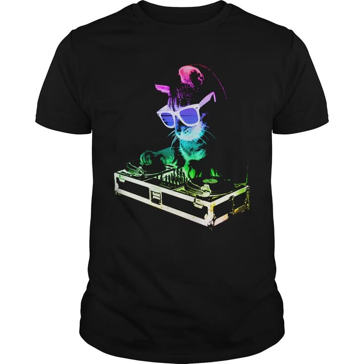 HOUSE CAT RAINBOW DJ KITTY CAT T SHIRT  Available in t-shirt/hoodie/long tee/sweater/legging with many color and sizes.
