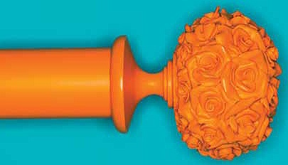 Byron & Byron 35mm, 45mm & 55mm Neon Floral Curtain Pole Posy, Orange