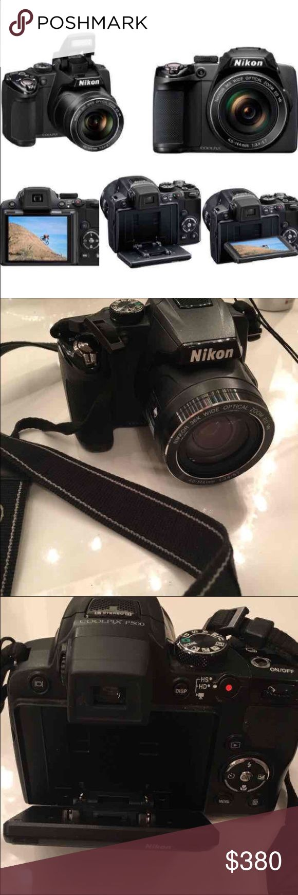 Nikon camera Nikon COOLPIX P500 12.1 CMOS Digital Camera with 36x NIKKOR Wide-Angle Optical Zoom Lens and Full HD 1080p Video (Black) **Preowned-in excellent condition  Features:  •36x Wide-Angle Optical Zoom-NIKKOR ED Glass Lens. •12.1-megapixel CMOS sensor for high-speed operation •Full HD (1080p) Movie with Stereo sound and HDMI Output •5-way VR Image Stabilization System  Technical Details: •Auto Focus Technology	 •Contrast Detect (sensor) •Multi-area •Face Detection •Live View Nikon…