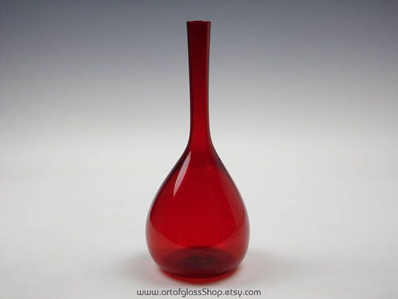 Swedish ruby red glass bottle vase
