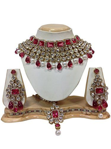Ddivaa Indian Bollywood Madhuri Dixit Inspired Pink Stone White Kundan Party Wear Necklace Set Ddivaa, http://www.amazon.com/dp/B01N23XGDF/ref=cm_sw_r_pi_dp_x_oPmuzbRBP0SCC