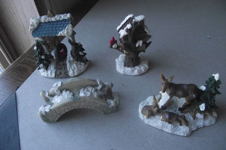 Set of 4 Christmas Village Miniture Decorations Mother Deer Fawns Brid Treehouse
