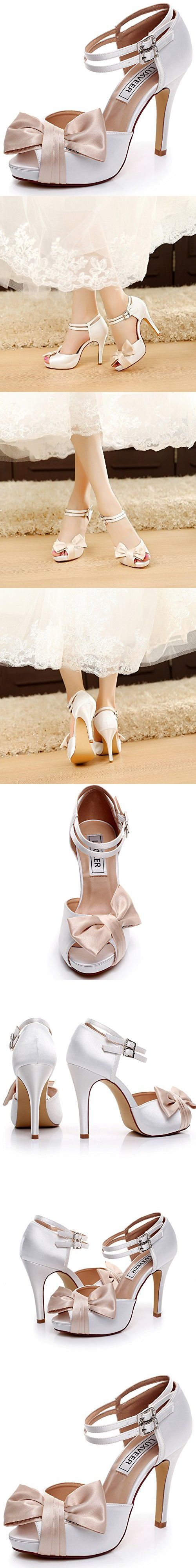 LUXVEER White and Champagne Wedding Sandals with Bowknot 4 inch Heels,RS-9807-Sandals-Bowknot-EU39