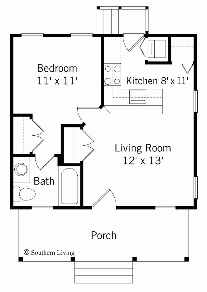 Small Home Designs 10x30 Tiny House 10x30h1a 300 Sq Ft Excellent - one bedroom house plans