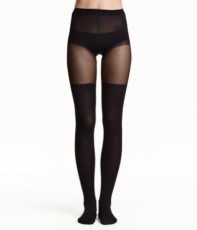 Tights with appearance of ribbed, over-knee socks. Elasticized waistband.
