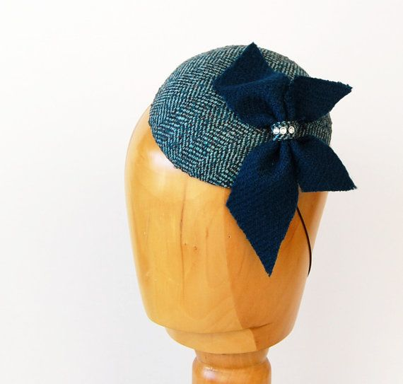 Turquoise tweed herringbone Fascinator hat with a by WhereIsTheCat