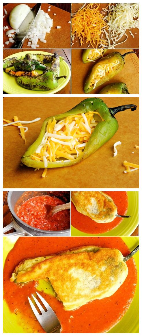 Chiles Rellenos de Queso~Stuffed Poblano Peppers with Cheese [ MexicanConnexionForTile.com ] #food #Talavera #handmade