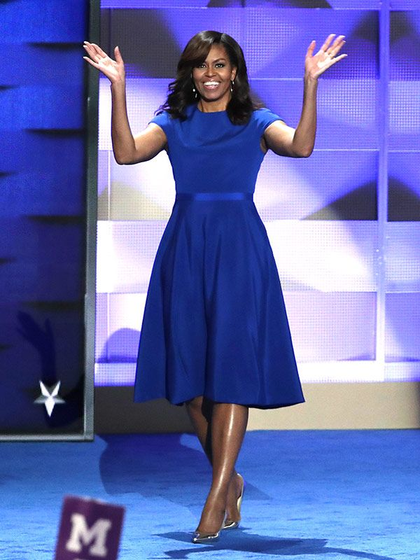 Michelle Obama's blue Christian Siriano dress at the Democratic National Convention - click through for all the details!