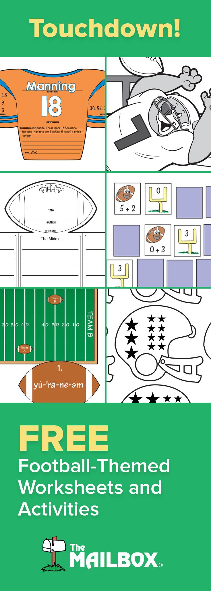 Worksheets Mailbox Worksheets 269 best fall images on pinterest the mailbox classroom ideas football season is here reinforce math literacy and language arts skills with these