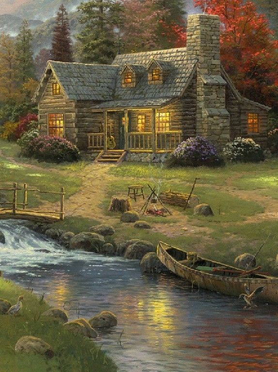 33 best images about paintings on pinterest small log for Log cabin painting