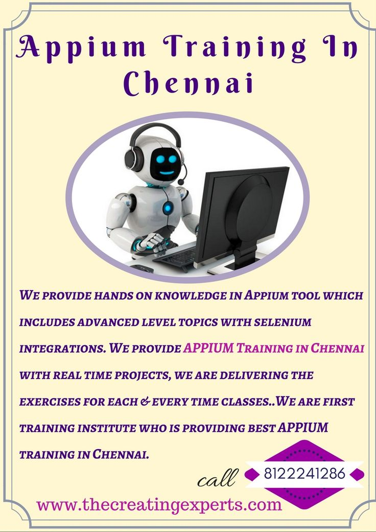 We provide best appium training in Chennai with real time scenarios. For real time training reach us 8122241286 and become experts in appium.