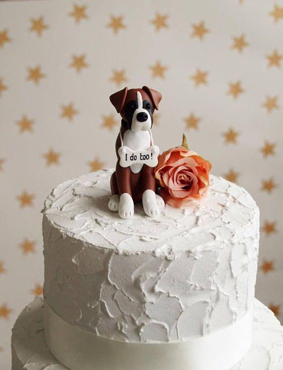 Boxer Dog Cake Topper Dog Wedding Cake Topper Dog Birthday Etsy In 2020 Dog Cake Topper Dog Cake Topper Wedding Dog Birthday Cake