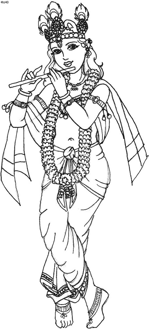 Lord krishna free colouring pages for Coloring pages of krishna