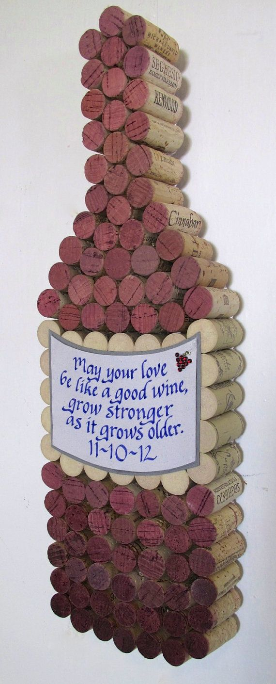 Handmade Wine Cork WIne Bottle Cork Board with Hand Cut by LMadeIt, $85.00
