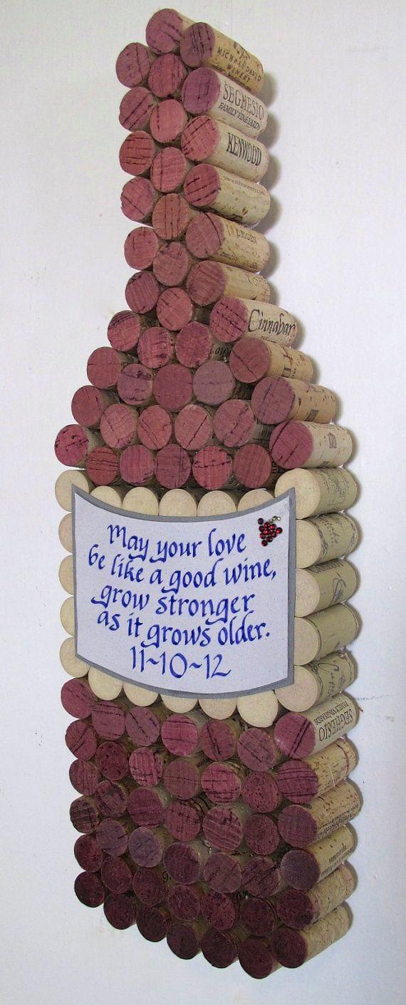 Handmade Wine Cork WIne Bottle Cork Board with Hand Cut by LMadeIt, $85.00