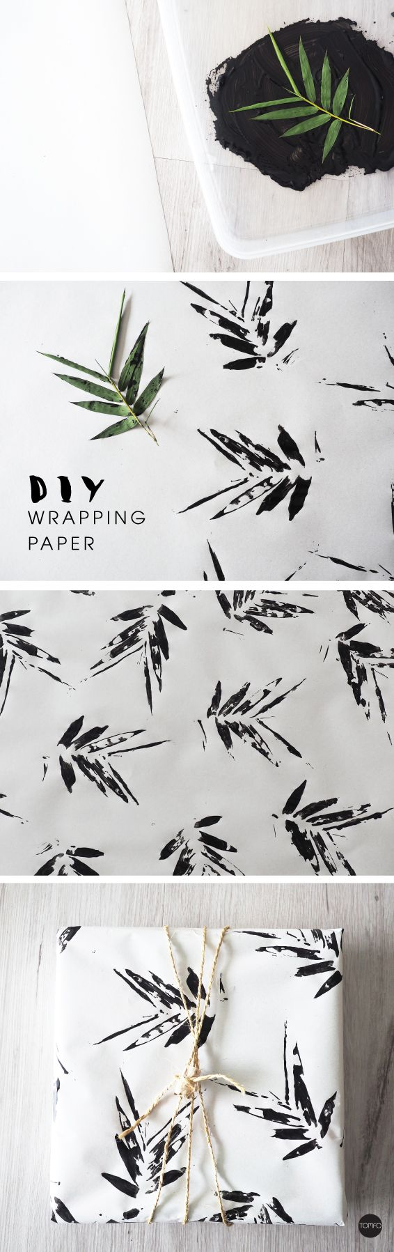 DIY leaf print wrapping paper