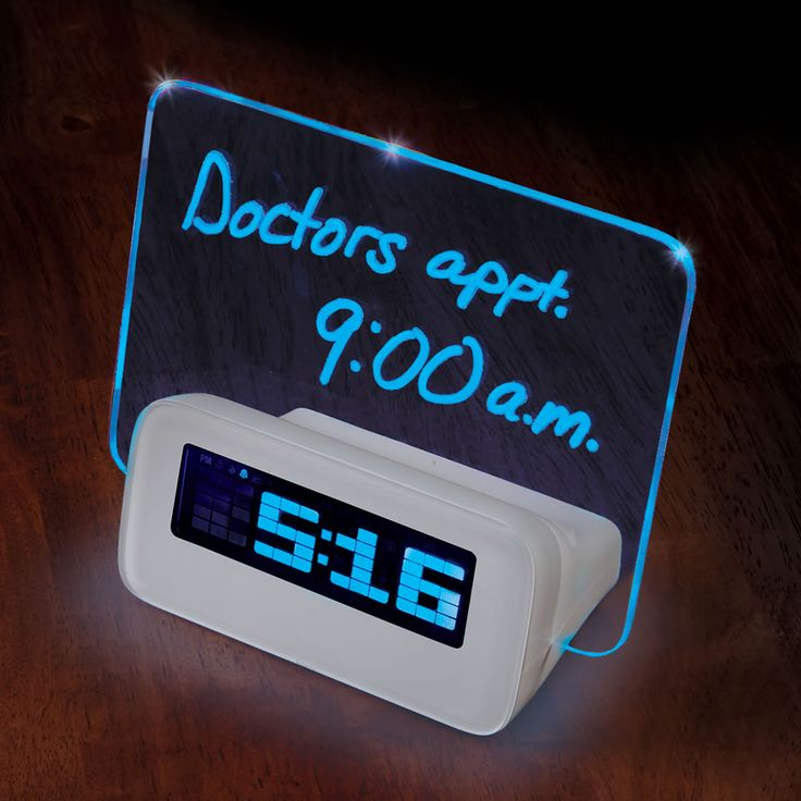 Now you can't blame your weak memory for forgetting about; why the Alarm Clock was set? as this clock has inside LED, which causes any message inscribed to glow. Using the included blue-ink dry-era...