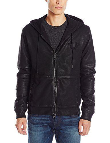True Religion Men's Moto Full Zip Hoodie Sweatshirt