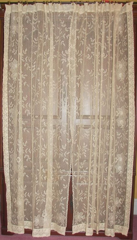 vintage lace ebay bn s piece sheer panel b curtain antique curtains rose