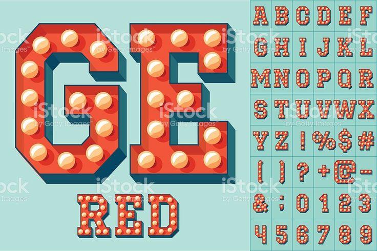 O vetor luz vermelha colorida TV luminária alfabeto vetor e ilustração royalty-free royalty-free