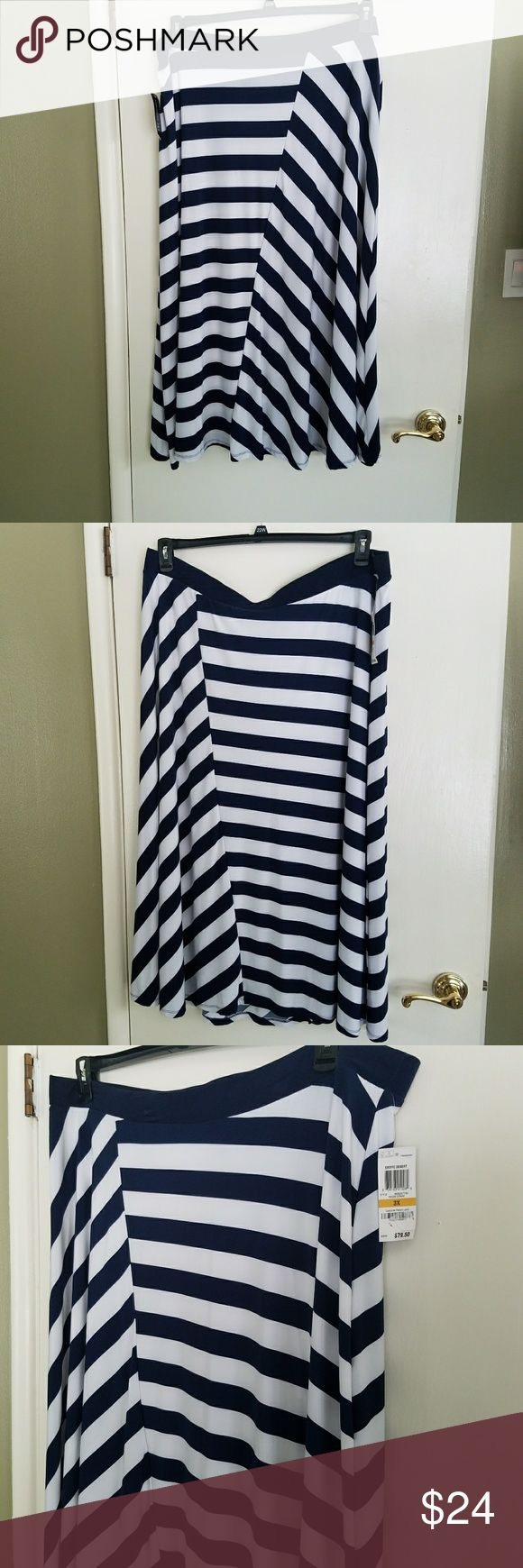 NWT INC Maxi length Navy Blue and White Skirt This Navy Blue and White flared skirt was purchased by me and never worn.  It's very femine and great for twirling. INC International Concepts Skirts Maxi