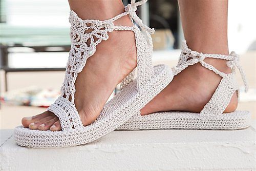 Completely crocheted sandals.