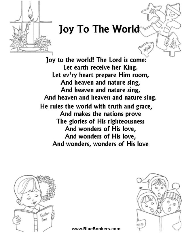 BlueBonkers: Joy to the World Free Printable Christmas Carol Lyrics Sheets : Favorite Christmas Song Sheets