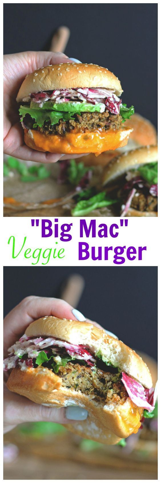 "The Best Veggie ""Big Mac"" Burger with Radicchio Slaw"